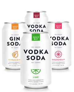 Beach Pack - Deep Bay Spirits Vodka Soda Variety Pack - on ice in soft cooler to KEEP