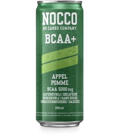 NOCCO BCAA Energy Drink - Apple (BCAA+, Sugar Free & Caffeine Free)
